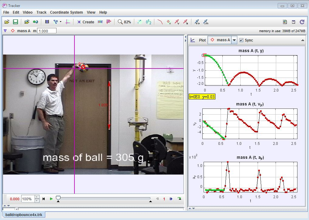 Use of Tracker to explain the bouncing ball graphs